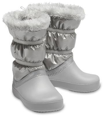 Dětské zimní boty LODGEPOINT Metalic s kožíškem, stříbrné, vel. 32-33, Crocs