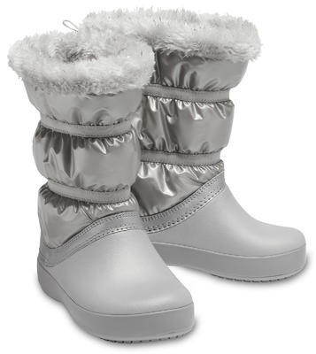 Dětské zimní boty LODGEPOINT Metalic s kožíškem, stříbrné, vel. 34-35, Crocs