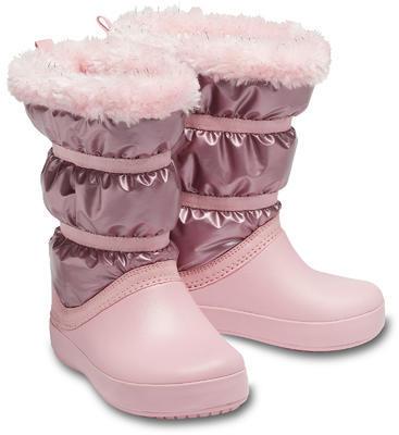Dětské zimní boty LODGEPOINT Metalic s kožíškem, růžové, vel. 33-34, Crocs - 1