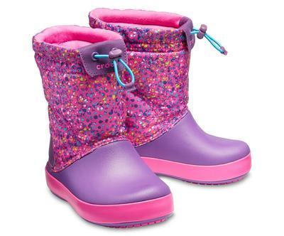 Dětské zimní boty CROCBAND LodgePoint Graphic K - Neon Magenta/Ametyst, vel. 33-34, Crocs - 1