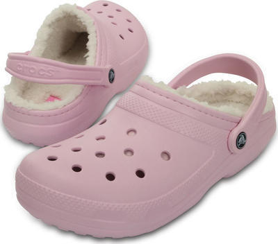 Boty CLASSIC Lined Clog Ballerina Pink/Oatmeal s kožíškem, UNISEX  vel. 38.5, Crocs - 1