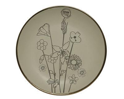 Talíř s dekorem květiny, 19,5cm, světle šedý, kamenina, Kaemingk