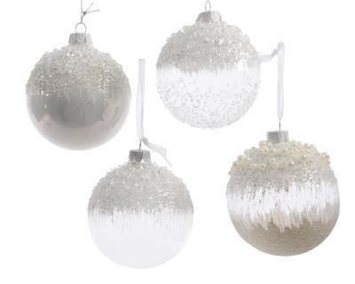 Vánoční ozdoba, 4 assort, 8cm, sklo