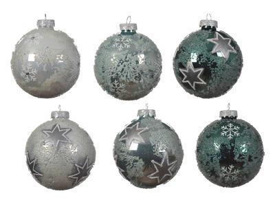 Vánoční ozdoba - Koule s vločkou / hvězdou 8 cm, Kaemingk
