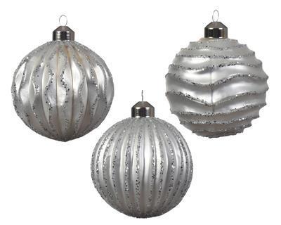 Vánoční ozdoba - Koule s reliéfem mat 8 cm - stříbrná, Kaemingk