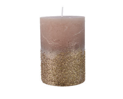 Svíčka se třpytkami, 7x10cm, růžová, Kaemingk
