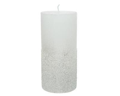 Svíčka se třpytkami, 7x15cm, zimní bílá, Kaemingk
