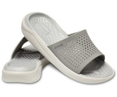 Pantofle LITERIDE SLIDE M11 smoke/pearl white, Crocs - 1