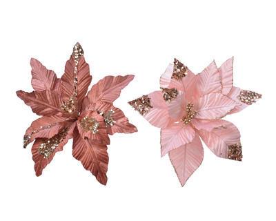 Vánoční hvězda na klipu, strorůžová/ růžová, Kaemingk - 1