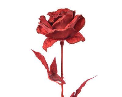 Květina RŮŽE se třpytkami, 60cm, červená, Kaemingk