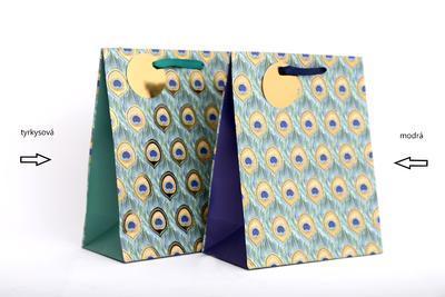Dárková taška PAVÍ PEŘÍ, 23x19cm, 2 druhy, tyrkysová/ modrá, Sifcon