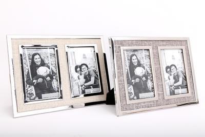Fotorámeček DOUBLE 11x16cm, 2 druhy, krémový/světle hnědý, Sifcon
