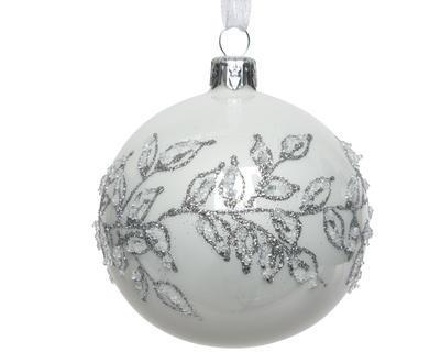 Vánoční ozdoba - Koule LÍSTKY 8 cm - zimní bílá, Kaemingk