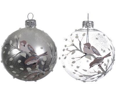 Vánoční ozdoba - Koule BIRDS 8 cm - stříbrná/transp., Kaemingk