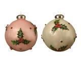 Vánoční ozdoby 3 ks - Koule HOLLY DIAMOND 8 cm - růžová/bílá, Kaemingk - 1/2