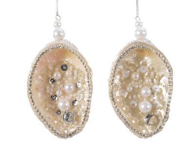 Vánoční ozdoba - Mušle s glitry 11 cm - pearl, Kaemingk