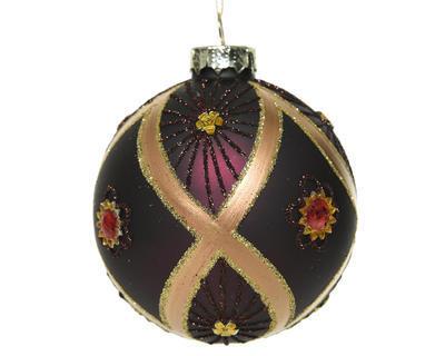 Vánoční ozdoby 3 ks - Koule DIAMOND FLOWER 8 cm - fialová, Kaemingk - 1