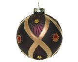 Vánoční ozdoby 3 ks - Koule DIAMOND FLOWER 8 cm - fialová, Kaemingk - 1/2