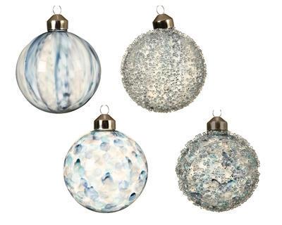 Vánoční ozdoba - Koule PAINT STRIPES 8 cm - modrá, Kaemingk