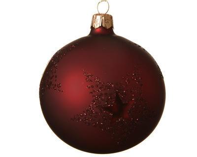Vánoční ozdoba - Koule STAR DOTS 8 cm - tm. červená, Kaemingk