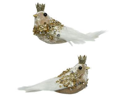 Vánoční ozdoba - Ptáček s korunkou na klipu VELVET 13 cm - zlatá, Kaemingk