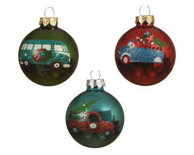 Vánoční ozdoba - Koule auto CAR XMAS 6 cm, Kaemingk