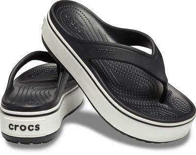 Pantofle CROCBAND PLATFORM FLIP M9/W11 black/white, Crocs - 1