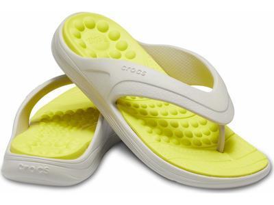Žabky REVIVA FLIP M6/W8 pearl white/citrus, Crocs - 1