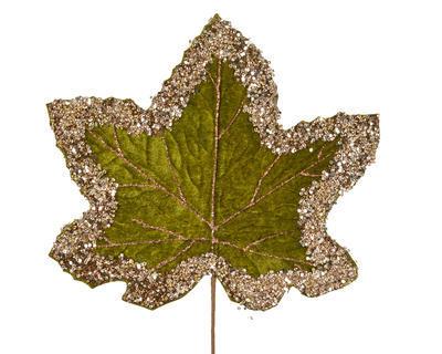 Vánoční umělá květina - List se třpytkami VELVET 29 cm - zelená, Kaemingk
