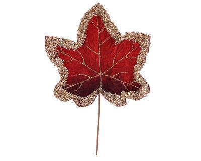 Vánoční umělá květina - List se třpytkami VELVET 29 cm - červená, Kaemingk