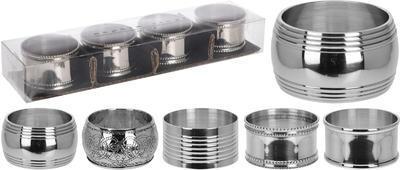 Stříbrné kroužky na ubrousky, 5 assort, Koopman
