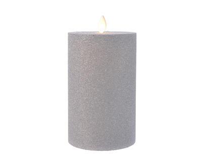 LED povoskovaná svíčka se třpytkami, stříbrná, 9x15cm, Kaemingk