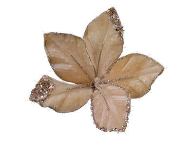 Květina na klipu, svítící, 20x15cm, béžová, Kaemingk