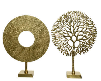 Dekorace, kruh/ strom, zlatá, Kaemingk - 1