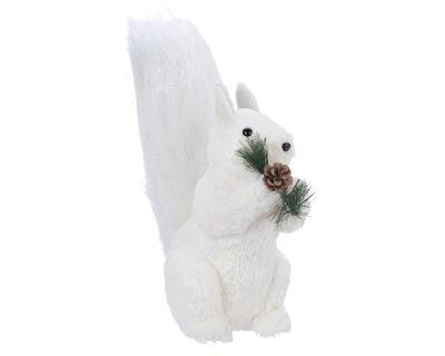Vánoční dekorace - Veverka s větvičkou 30x16x45 cm - bílý, Kaemingk