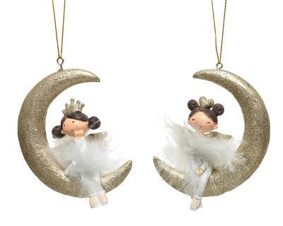 """Vánoční ozdoba """"Andělíček na měsíci"""", 9x2,5x6,5cm, polyresin"""