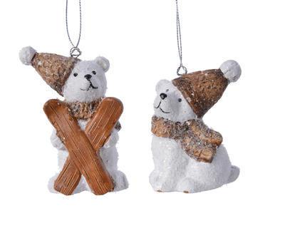 """Vánoční ozdoba """"Lední medvěd"""", 2 assort, kamenina"""