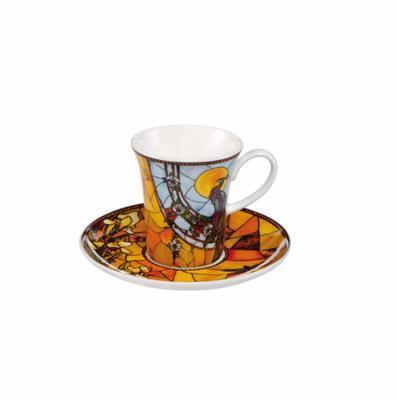 Šálek a podšálek espresso ARTIS ORBIS L. C. Tiffany - Peacock - 100 ml, Goebel
