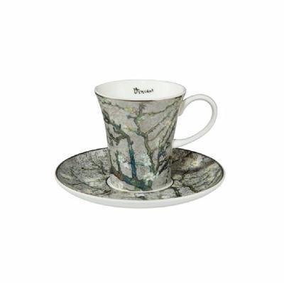 Šálek a podšálek espresso ARTIS ORBIS V. van Gogh - Almond Tree Silver - 100 ml, Goebel