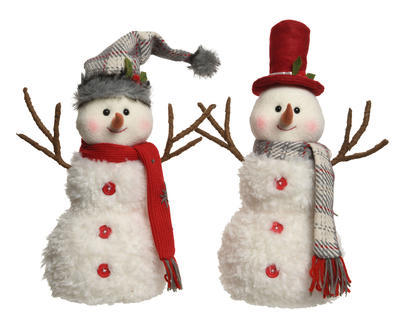Vánoční dekorace - Sněhulák 21x35x43 cm - bílá, Kaemingk