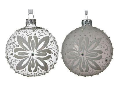 Vánoční ozdoba s květinou, 8 cm, transparentní/ šedá, Kaemingk - 1
