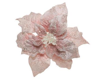 Vánoční hvězda na klipu, 16x7cm, růžová, Kaemingk