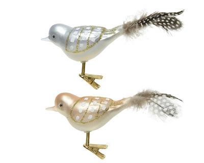 SET - ptáček na klipu, 4x10x5cm, zimní modrá/ světle hnědá, Kaemingk - 1