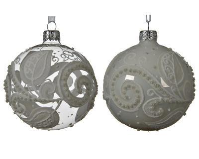 Vánoční ozdoba s listy, 8 cm, transparentní/ šedá, Kaemingk - 1