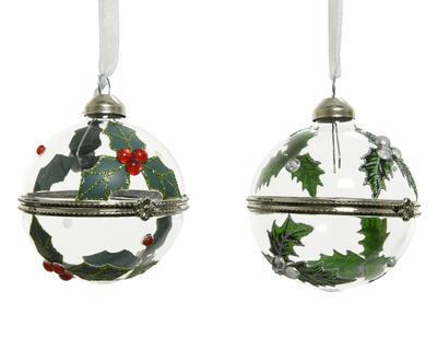 Vánoční ozdoba - otevírací, cca 6cm, červené bobule/ bílé bobule, Kaemingk - 1