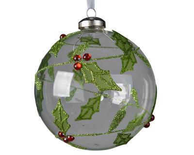 SET vánočních ozdob s cesmínou, 10cm, transparentní, Kaemingk
