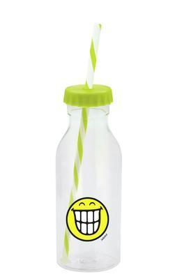 Láhev SMILEY SODA s uzávěrem a brčkem 550 ml - čirá/zelená, Zak!