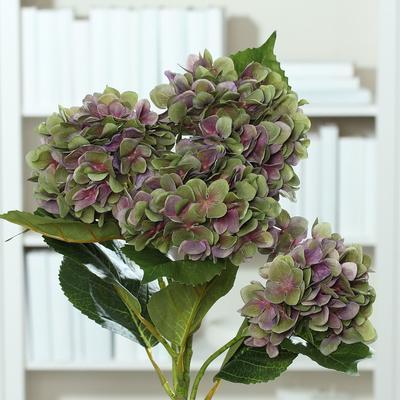 Květina HORTENZIE 60 cm - vínová/zelená, DPI