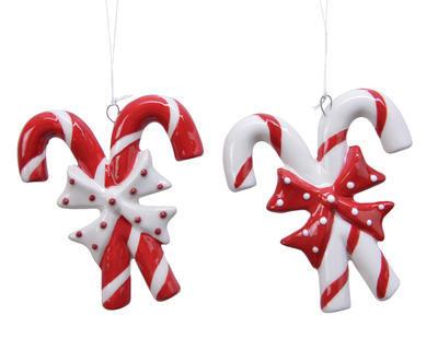 Vánoční ozdoba LÍZÁTKO, 9cm, červené/ bílé, Kaemingk - 1