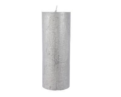 Svíčka metalická, 18cm, stříbrná, Kaemingk